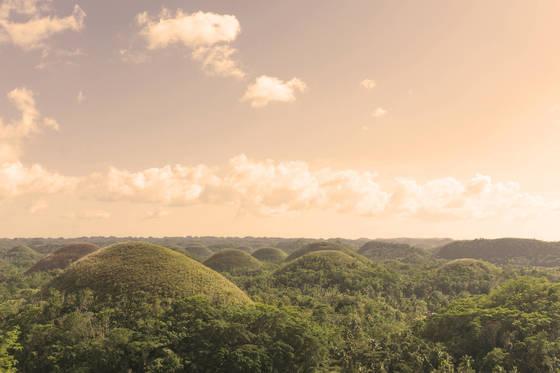 보홀섬 한가운데 있는 초콜릿힐. 초콜릿 모양의언덕이 1268개나 된다.[사진 필리핀항공]