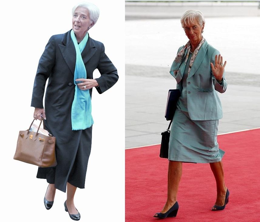 패션 아이콘으로도 유명한 크리스틴 라가르드 IMF 총재. 왼쪽 사진 속에서 들고 있는 에르메스 버킨백이 가득 채워진 서류로 불룩하다. [중앙포토]
