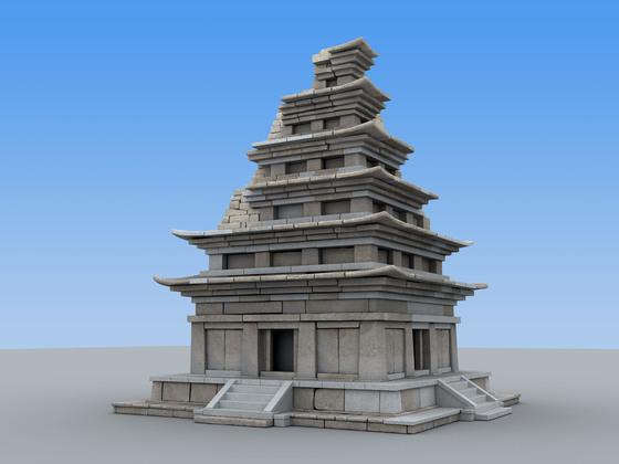 보수 공사가 완료된 미륵사지 석탑 투시도. 최종 모양은 조금 달라질 수 있다. [사진 문화재청]