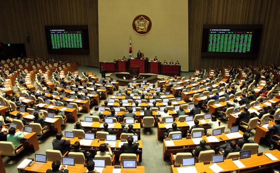 공무원연금 개혁 법안 국회 본회의 통과. [중앙포토]