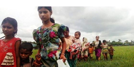 방글라데시로 향하는 로힝야족 난민들[AFP=연합뉴스]