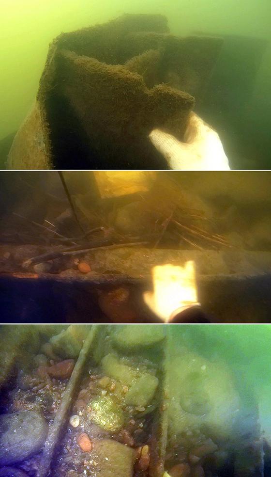 팔당대교 인근 물 속의 상황. 수중촬영 카메라에 건설 폐자재 등이 잡혔다. [사진 중부일보]