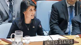 유엔 안전보장이사회에서 발언하고 있는 니키 헤일리 유엔주재 미 대사.