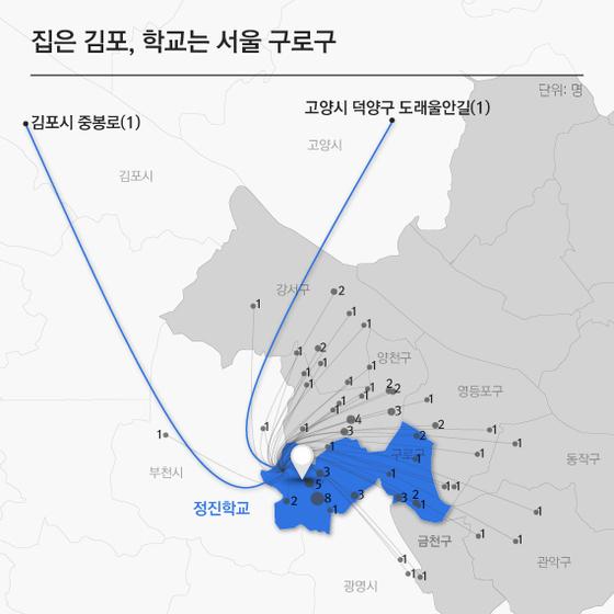 자가용 차를 이용해 서울 구로구 정진학교로 통학하는 85명 학생들의 거주지부터 학교까지의 거리 시각화