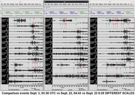 CTBTO의 라시나 제르보 사무총장이 분석한 23일 지진파. 왼쪽부터 지난 3일 2차 지진, 23일 1차 지진, 2차 지진. [트위터 캡처]