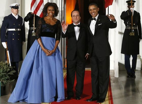 피에르가 캐롤리나 헤레라에 있을 때 작업한 미셸 오바마의 드레스. [로이터=연합]
