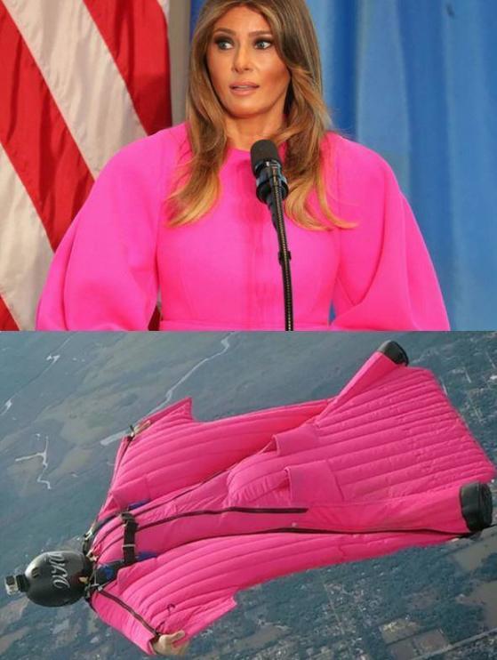 유엔 오찬에 3000달러 (약 340만원)짜리 네온 핑크 드레스를 입고 참석한 멜라니아 트럼프. 핑크색 윙슈트 같다면는 조롱을 받기도 했다. [사진 인스타그램]