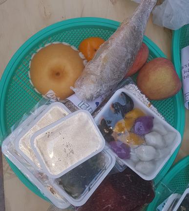 자원봉사자들이 마련한 제수용 음식.