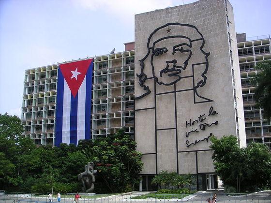 쿠바 수도 아바나 혁명광장의 게바라 이미지.
