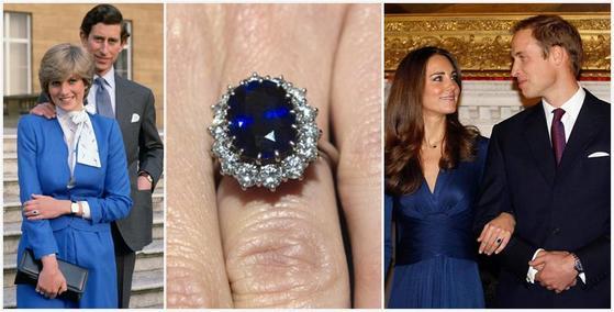 다이애나 왕세자빈의 사파이어 약혼 반지. 이것을 물려받은 아들 윌리엄이 미래의 아내 캐서린 왕세손비에게 선물했다.