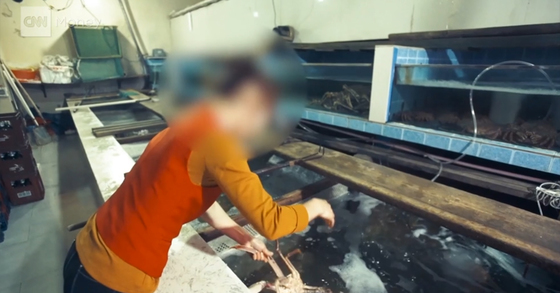 시장 인근의 식당에서는 신선한 북한산 꽃게 요리가 판매되고 있었다. [사진 CNN 캡처]