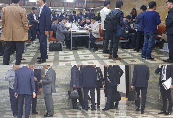 회의실 앞 복도를 가득 메운 피감기관 공무원들(위)과 의원실 보좌진들. 김록환 기자