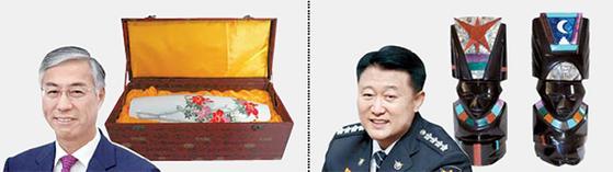 추궈훙 주한 중국대사(左) - 중국 장인의 도자기, 이철성 경찰청장(右) - 멕시코 조각상