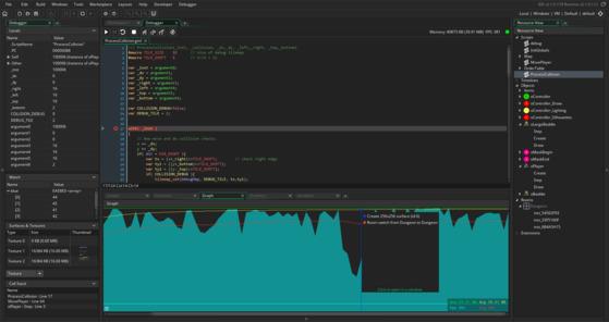 게임 제작 도구인 게임메이커 스튜디오 2의 디버깅 화면. [사진=요요게임즈]