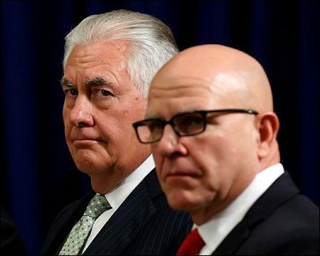 렉스 틸러슨 미 국무장관(왼족)과 허버트 맥매스터 백악관 국가안보보좌관