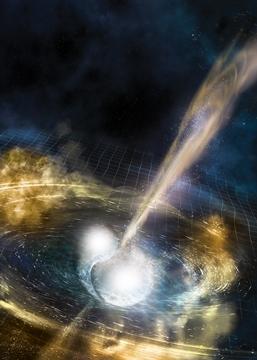 중성자별의 충돌 직후 중력파와 감마선이 방출되는 순간의 모습을 컴퓨터 그래픽으로 표현했다.[사진 라이고,NSF]