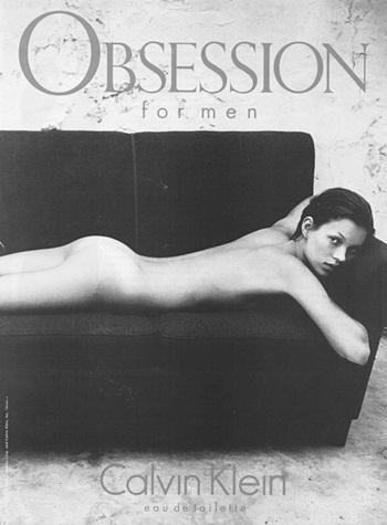1993년 전라의 케이트 모스 사진으로 큰 반향을 일으켰던 캘빈클라인 '옵세션' 광고(1993).