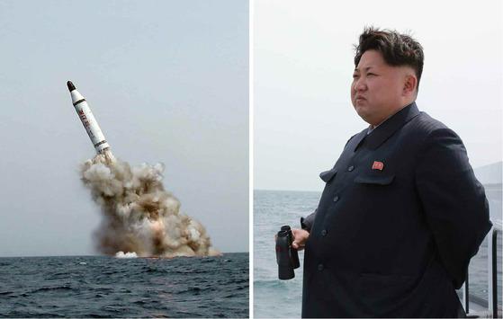 지난해 8월 잠수함발사탄도미사일(SLBM) 북극성-1형의 시험발사를 지켜보고 있는 김정은 북한 노동당 위원장. [노동신문]