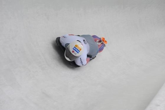 월드컵 대회에서 경기를 치르는 한국 스켈레톤 국가대표 윤성빈. [사진 대한봅슬레이스켈레톤경기연맹]