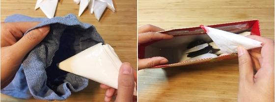작은 삼각형으로 접은 비닐봉투는 작은 면 파우치나 종이 빈 과자박스에 넣어 보관한다.