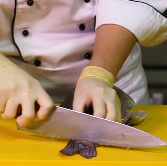 꼬리와 연결된 몸통 끝 부분에 칼집을 넣는다.