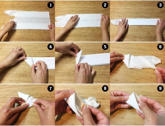 비닐봉지 접기 과정.(자세한 과정은 영상 참조)