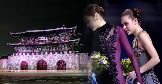 지난 5일 광화문에 설치된 '평창동계올림픽 G-100 미디어파사드'에서 평창올림픽 슬로건인 '하나된 열정(Passion. Connected)'을 주제로 미디어 아티스트 뮌이 창작한 미디어아트 작품이 상영되고 있다. [연합뉴스]