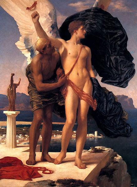 '이카루스와 다이달로스' 프레드릭 레이튼 작품(1869). 그리스 신화에서 태양 가까이 가지 말라는 아버지 다이달로스의 말을 어기고 하늘 높이 날아간 이카루스는 날개가 불에 타 땅에 떨어져 죽는다. [위키미디어]