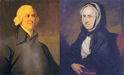 애덤 스미스와 그의 어머니 마거릿 더글러스의 초상화. [중앙포토]
