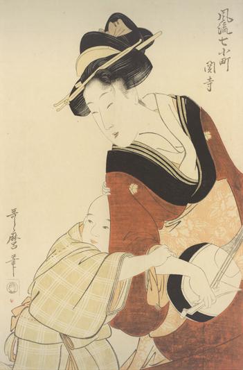샤미센을 연주하는 젊은 엄마, 기타가와 우타마로. [루브르 아부다비]