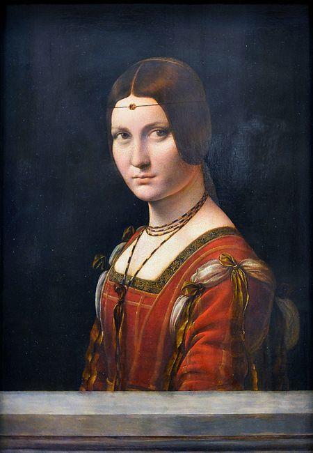 밀라노 귀족 부인의 초상, 레오나르도 다 빈치, 1490-1496, 목판에 유채, 루브르 박물관 소장