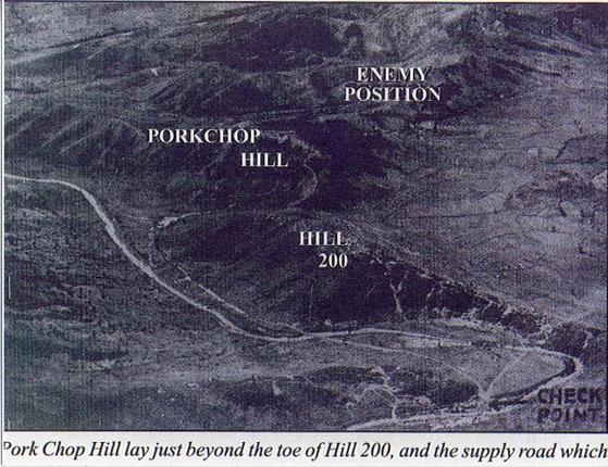 전투 당시 폭찹힐 지도. 폭찹힐이란 별명은 하늘에서 내려다 본 언덕 모양이 미국식 돼지고기 요리인 폭찹과 닮았다고 해서 붙여졌다. [자료 weaponsandwarfare.com]