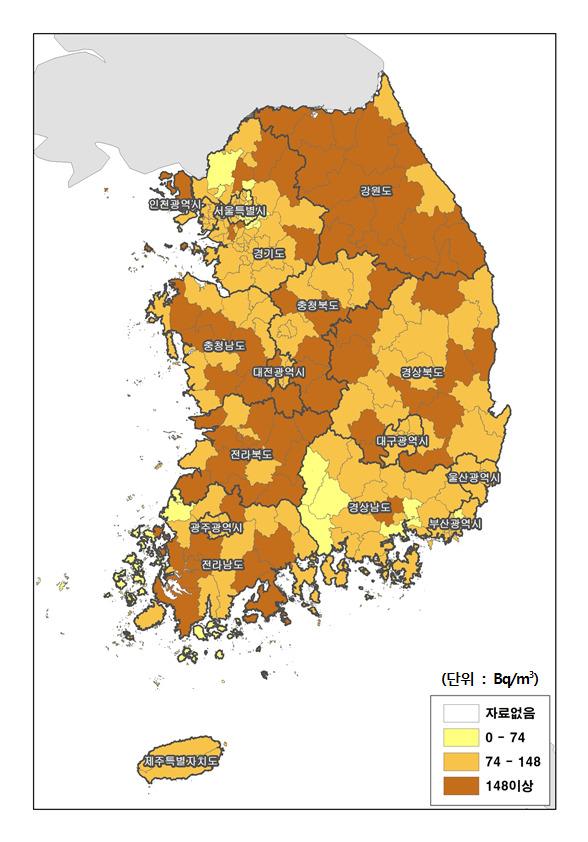 겨울철 주택 실내공기 라돈오염 지도. 2013년 조사 결과다. [자료=국립환경과학원]