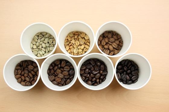 로스팅 단계에 따른 커피 콩의 색깔 변화 모습. 프리랜서 이현석
