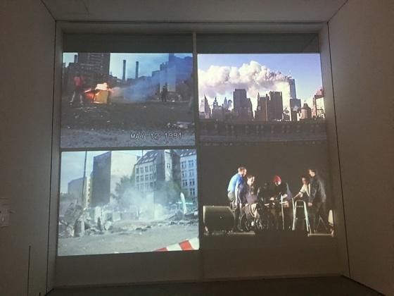 요나스 메카스의 작품 '파괴 사중주'를 선보이는 전시장 모습. 사진=이후남 기자