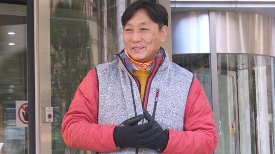 15일 선고가 끝난 후 서울중앙지법 앞에서 만난 김용길씨. 문현경 기자