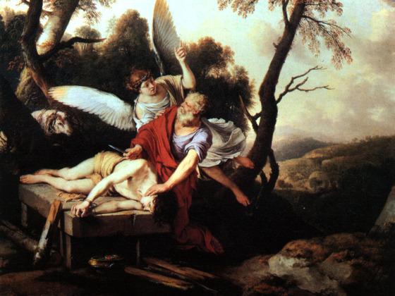 이삭을 번제로 바치라는 하나님 말씀을 따르는 아브라함에게 천사가 나타나 말리는 일화를 담은 성화.