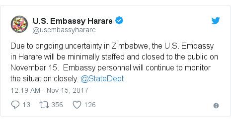 짐바브웨 주재 미국 대사관이 상황이 불안정해 이날 대민 운영을 중단한다고 알리고 있다.