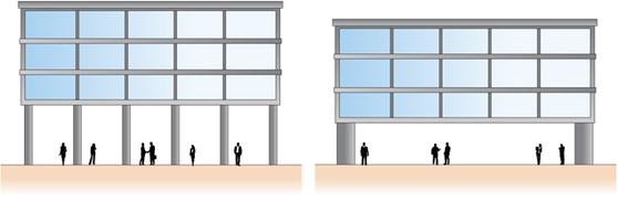 1층에 긴기둥이 있거나 상부층 기둥이 단절되어 형성된 연약층 [사진 서울특별시]