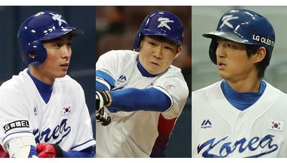 아시아 프로야구 챔피언십에서 한국 타선을 이끌 이정후·박민우·구자욱(왼쪽 사진부터). 왼손 타자인 셋은 발이 빠르고 타격이 정교하다. [양광삼 기자], [뉴스1]