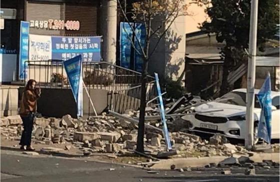 5일 발생한 지진으로 인한 피해 모습. [사진 온라인 커뮤니티]