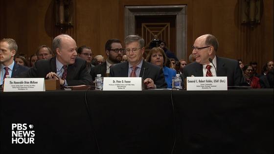 미국 상원 외교위원회가 14일 개최한 대통령의 핵무기 발사명령 권한 청문회에 참석한 증인들.[유튜브 촬영]