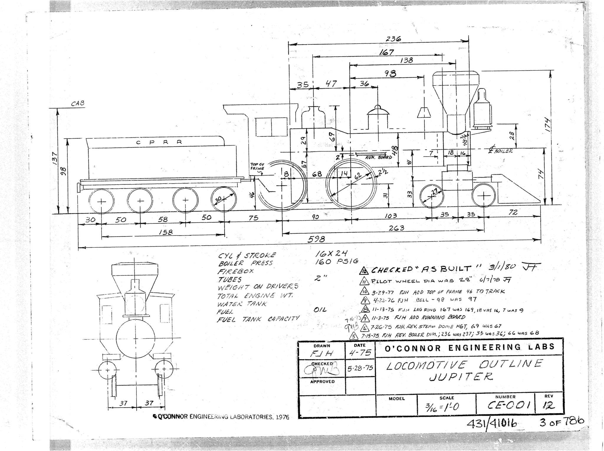 의뢰한 회사에서 보내온 'JUPITER' 기관차의 설계 도면. 도면을 참고하여 제작에 적합하게 다시 설계하여 제작한다. [사진 기차왕국박물관]