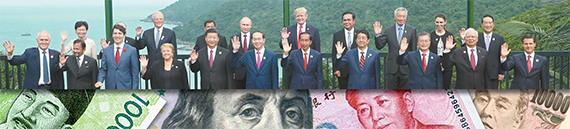 11일 베트남 다낭 APEC회의에 모인 21개국 정상들. 아·태지역 경제협력을 증진하는 이 회의에서 트럼프 미 대통령은 보호무역을 역설했다. [김상선 기자]