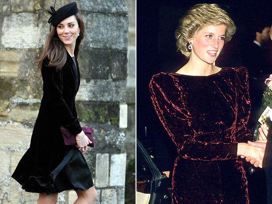 벨벳 드레스를 즐겨 입었던 고 다이애나 영국 왕세자빈(오른쪽)과 그의 스타일을 이어가는 케이트 미들턴 영국 왕세손비. [중앙포토]