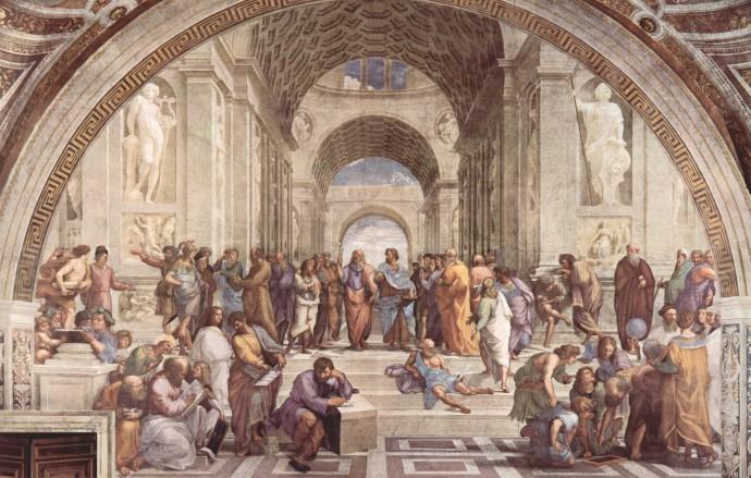 아테네 학당(1509~1510). 라파엘로는 인류 역사상 큰 발자취를 남긴 위인들을 한데 모아 놨다. 어두웠던 중세가 끝나고 교육과 문화, 예술, 과학이 꽃피웠던 르네상스 시대를 표현하기 위해서였다. 그림 정중앙엔 손을 위로 들고 이데아를 이야기하는 플라톤과 손바닥을 아래로 가리키며 현실을 강조하는 아리스토텔레스가 있다. 그 왼편엔 이들의 스승인 소크라테스가 진리를 설파하고 있는 모습이 보인다. [중앙포토]