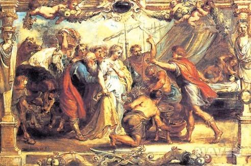 루벤스의 그림. 전쟁이 끝나고 전리품을 나누는 아킬레우스. 호메로스가 쓴 '일리아스'와 '오디세이아'는 서구 문명사에서 가장 흔한 문학과 예술 작품의 소재가 됐다. [네이버 지식백과]