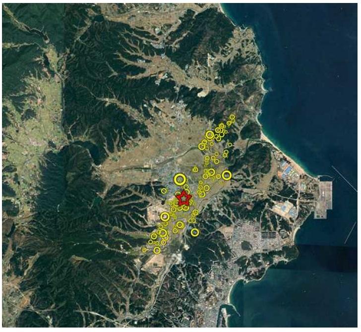 포항에서 발생한 지진과 여진의 위치 [자료 한국지질자원연구원]