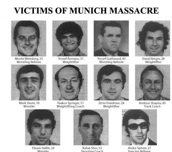 '평화의 제전'이라는 올림픽에 참가한 이스라엘 체조 선수들이 팔레스타인 무장조직 '검은 9월단'에게 학살됐다. 이스라엘은 '신의 보복'이라는 이름의 작전으로 관련자들의 응징에 나섰다. 그 과정은 순조롭지 않았다. 사진은 희생된 선수들의 사진. 이스라엘인의 가슴을 후벼파는 사진이다.