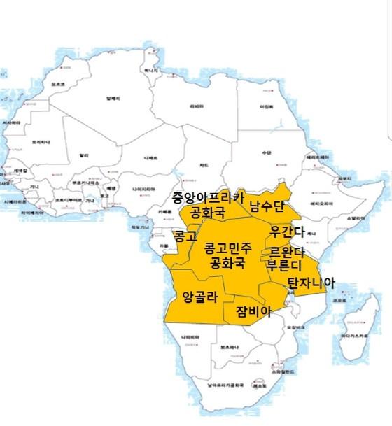 중부아프리카 지역에 집중된 분쟁국가들